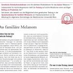 Univ. Prof. Dr. Okamoto in Wien informiert über das familiäre Melanom in SPECTRUM DERMATOLOGIE