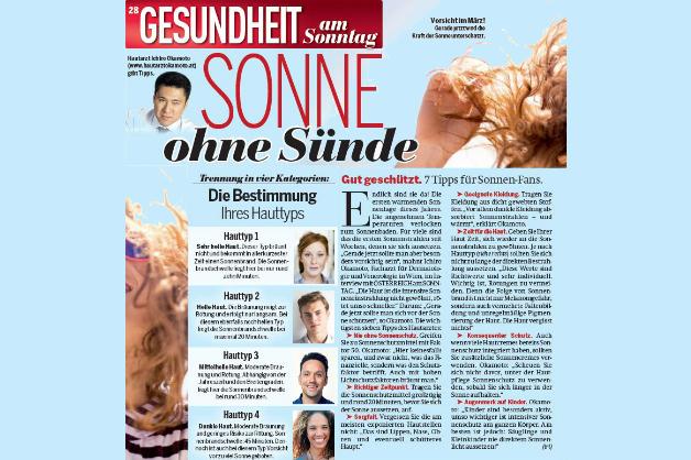 Hautarzt Dr. Okamoto im Interview in der Sonntags-Ausgabe von ÖSTERREICH