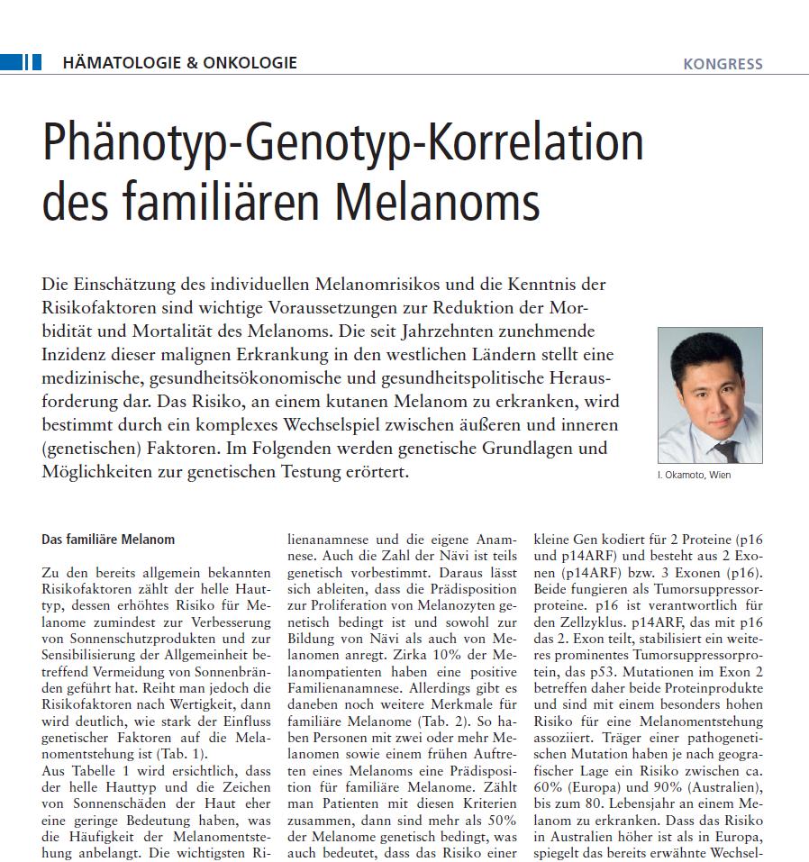 Univ. Prof. Dr. Okamoto in Wien informiert über Phänotyp-Genotyp-Korrelation des familiären Melanoms in JATROS