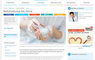 Artikel über Behandlung von Akne auf netdoktor.at von Dr. Okamoto aus Wien