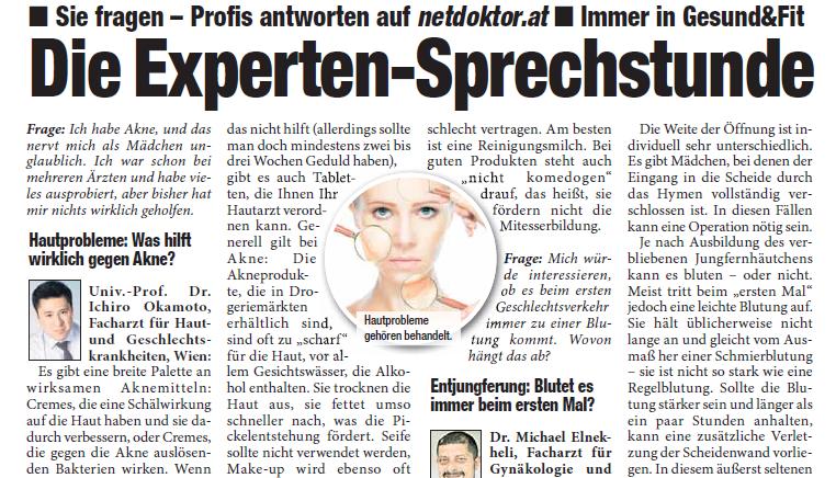 Artikel von Dr. Okamoto in Wien über Akne in der HEUTE