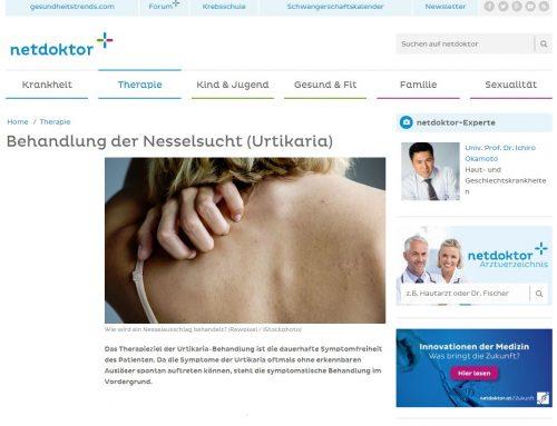 Univ. Prof. Dr. Okamoto in Wien informiert über die Behandlung von Nesselsucht auf netdoktor.at