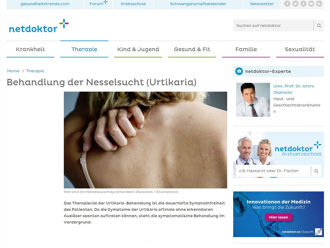 Hautarzt Dr. Okamoto in Wien - Experte auf Netdoktor - Behandlung von Nesselsucht