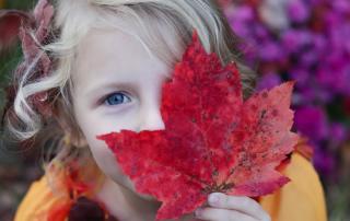 Kind versteckt sich hinter einem Blatt